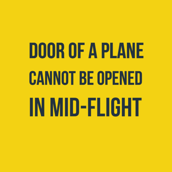 Door of a Plane Cannot Be Opened In Mid-flight