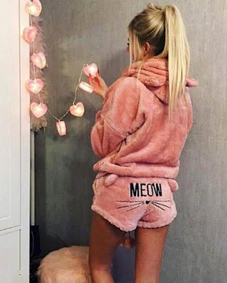 pijama de pana casual femenina