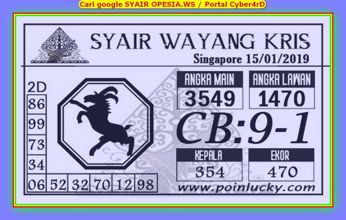 Kode syair Singapore Rabu 15 Januari 2020 92