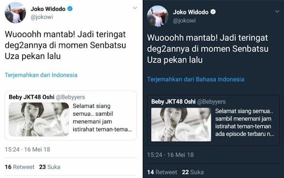 Heboh! Akun Twitter Jokowi Berkicau soal JKT48, Lalu Twitnya Dihapus