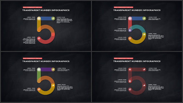 Infographic Transparent Design Elements for PowerPoint Templates in Dark background using Number 5
