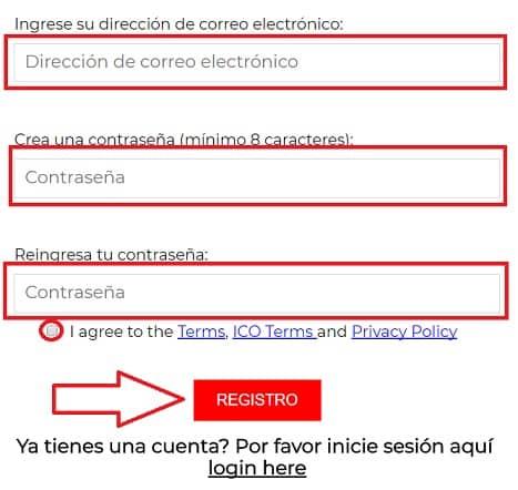 Registro en ICO de CREDITS