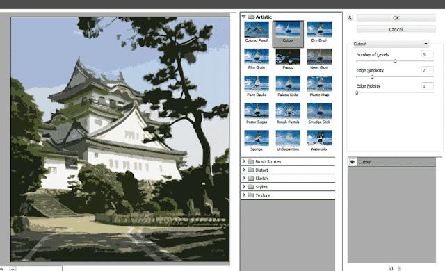 Mengubah Foto Pemandangan Menjadi Kartun - Filter > Cutout