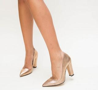 Pantofi Biny Bronz cu toc inalt gros de ocazii