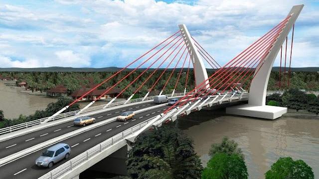 embatan sistem penyangga tunggal yang akan dibangun menghubungkan Kota Banjarmasin dan Barito Kuala di Kayutangi Ujung, Banjarmasin, Kalsel.