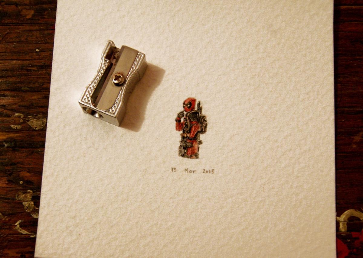 02-Deadpool-Ryan-Reynolds-Guillermo-Méndez-Mr-Luigi-Miniature-Drawings-and-Watercolor-Paintings-www-designstack-co