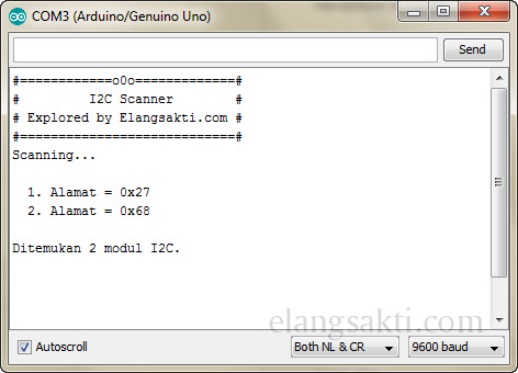 Gambar hasil program Arduino I2C Address Scanner