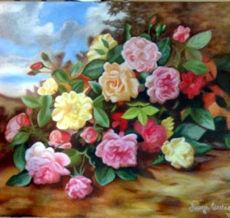 oil on canvas paintings, oil paint technique, oil paintings, roses flowers painting