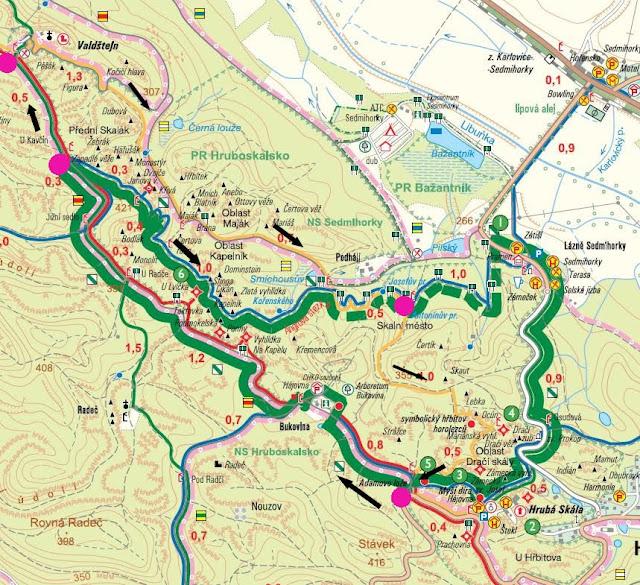 Mapa skalne miasto Hruboskalsko