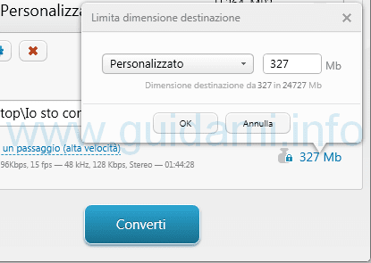 Dimensione video ridotta modificando profilo Freemake Video Converter
