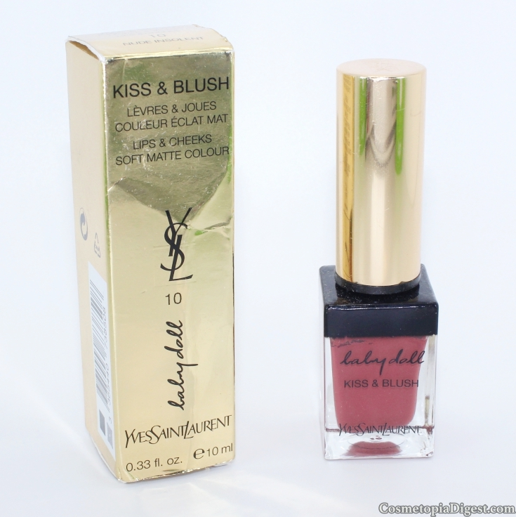 Review and swatches of YSL Baby Doll Kiss & Blush Lips & Cheek Soft Matte Colour.
