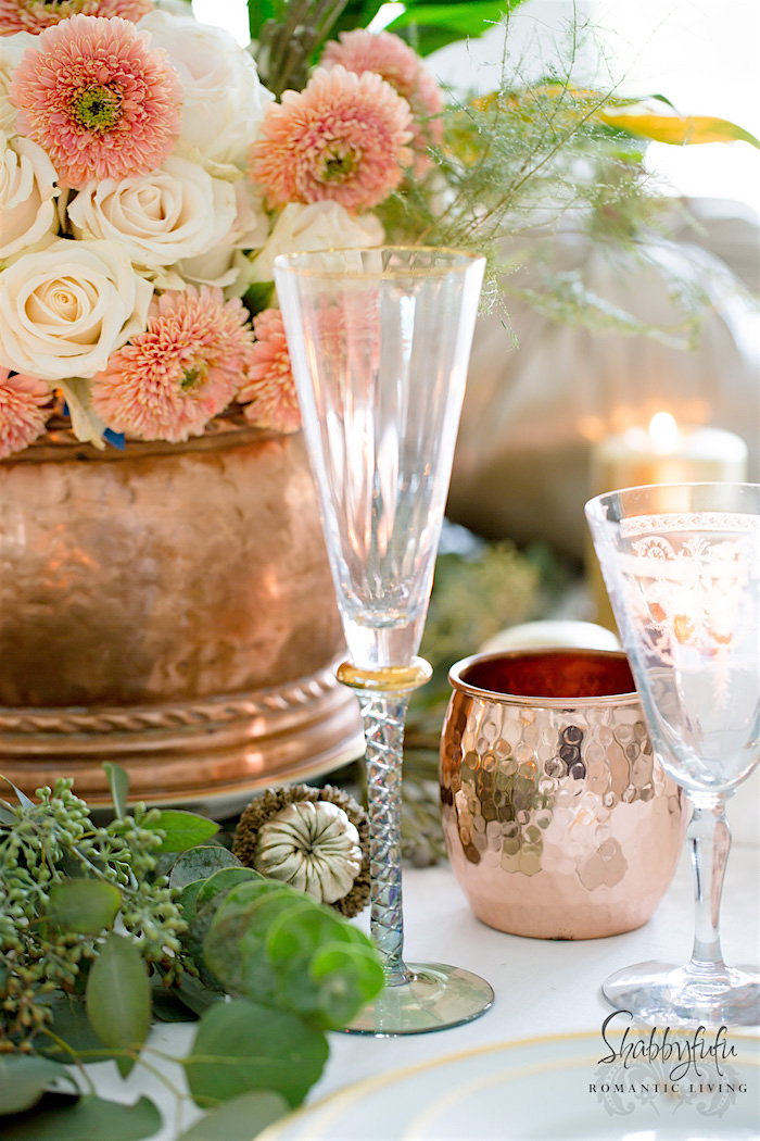 Beautiful tablesetting with copper