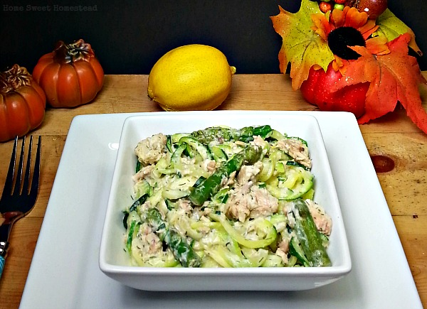 Creamy Dill Zoodles and Salmon