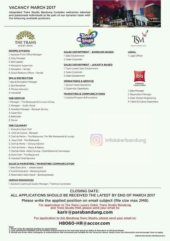 Lowongan Kerja Trans Studio Bandung Maret 2017