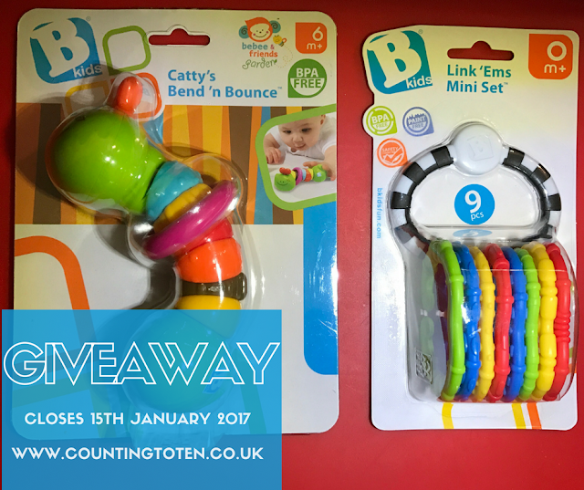Shows two toys: Link ums and bend 'n bounce available to win in a giveaway closing 15th January 2017