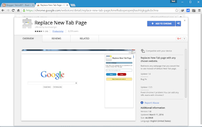 Menginstall ekstensi Replace New Tab Page