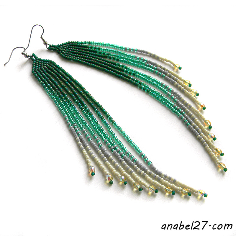 Seed bead earrings beadwork jewelry