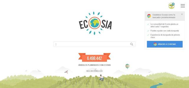 Ecosia, un buscador web que planta árboles.