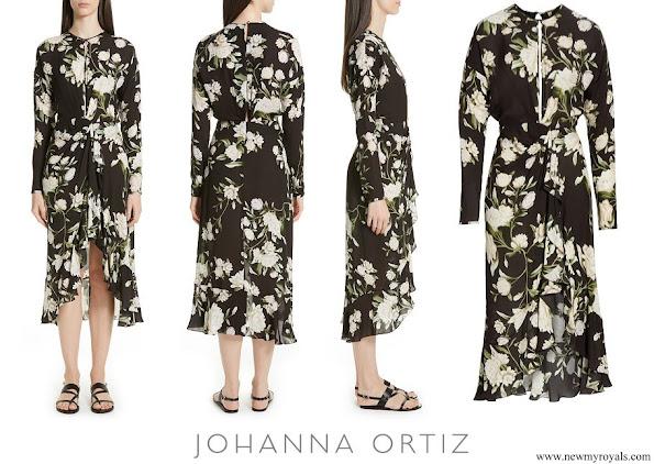 Queen Maxima wore JOHANNA ORTIZ Melodias Salvajes Front Slit Floral Print Silk Dress