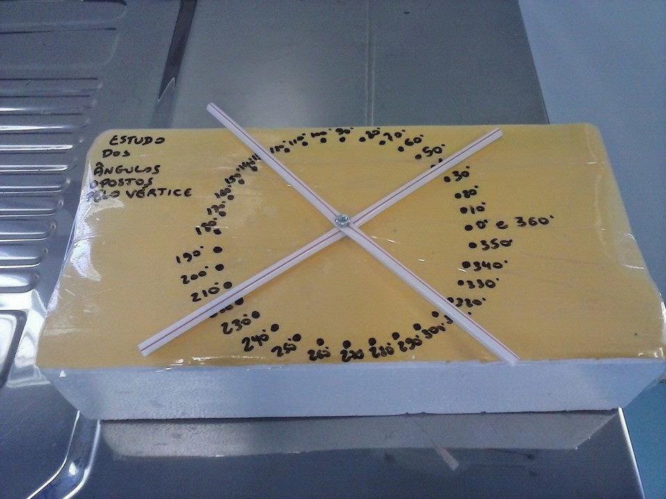 Confeccione um material manipulativo para estudo dos ângulos opostos pelo vértice construído com isopor descartado e canudinhos!