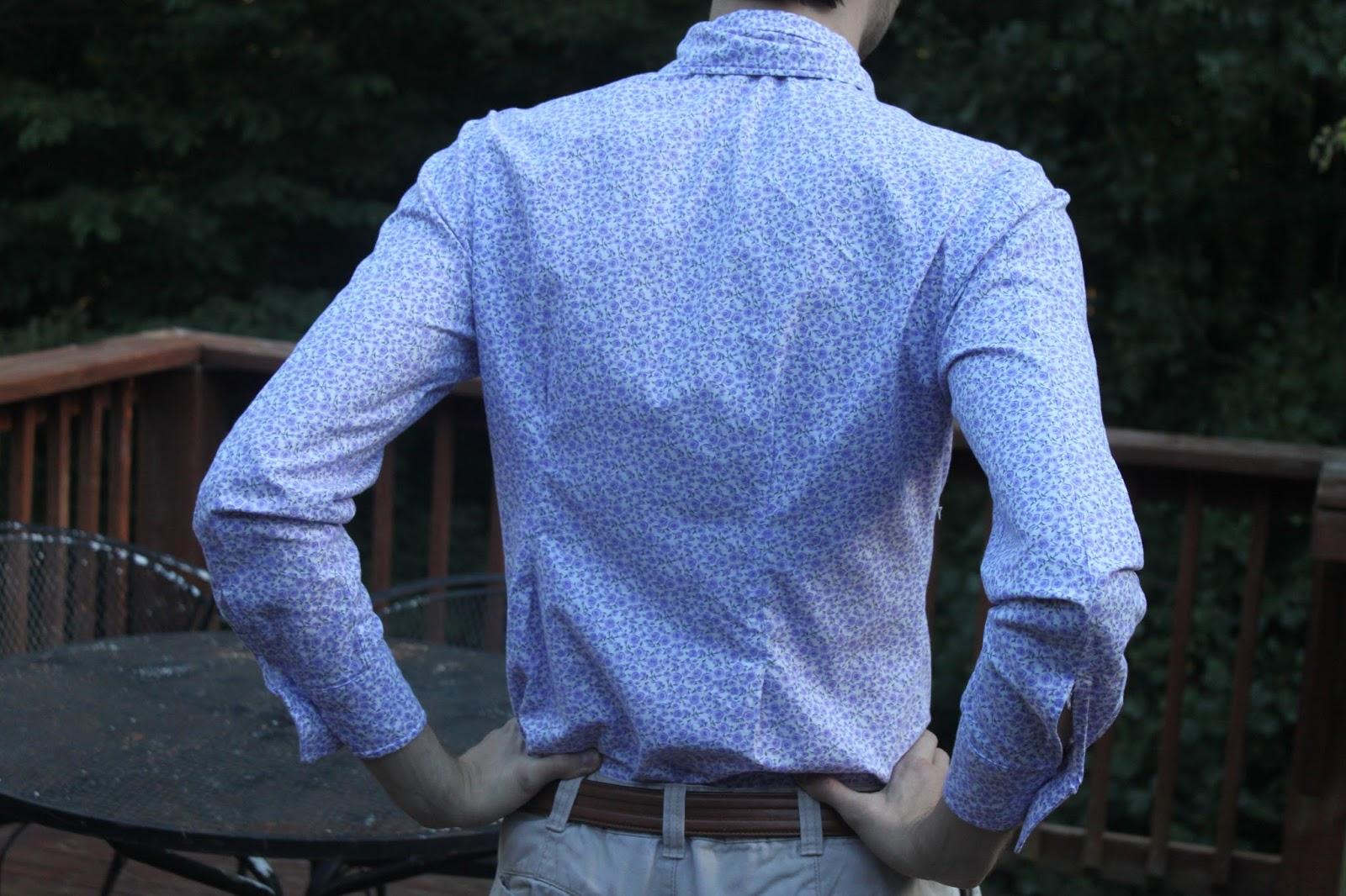 Back of men's purple shirt
