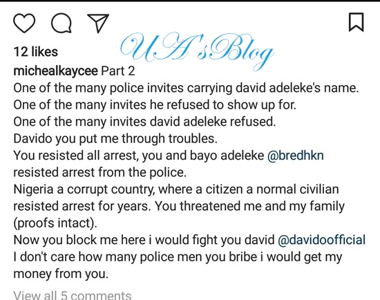 Another Scandal: Davido Accused Of Sending Death Threats To Man After Absconding With His N60m (Photos)