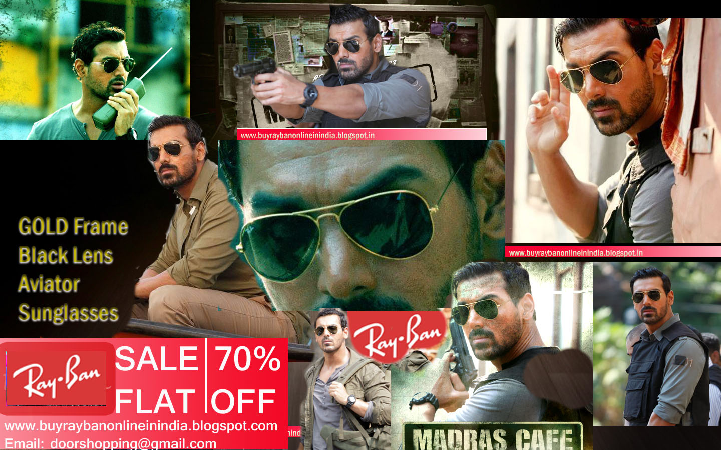 0614e9f7aed Rs999 John Abraham Golden Frame Black Lens Aviator Sunglasses in Madras Cafe