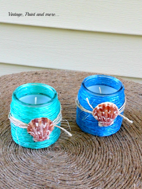 Vintage, Paint and more...DIY raffia wrapped votive jars for a beach inspired decor