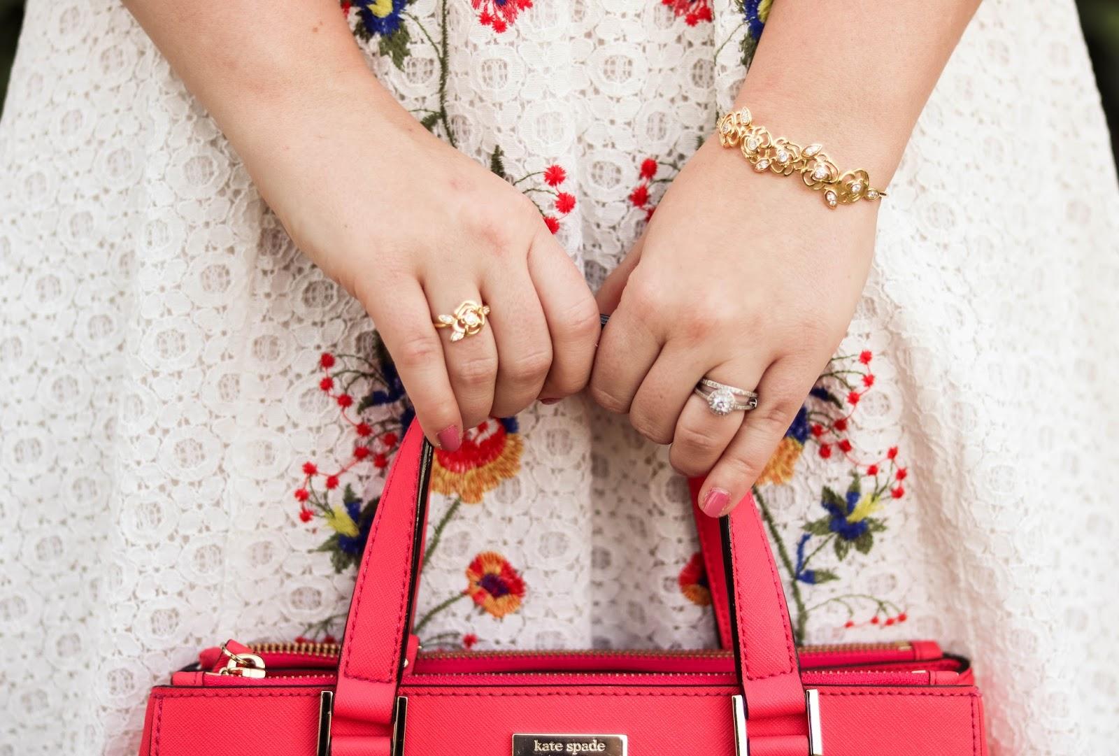 Elizabeth Hugen of Lizzie in Lace styles gold floral jewelry