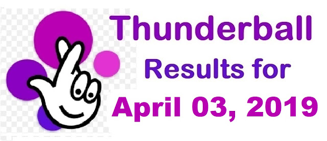 Thunderball results for Wednesday, 03 April 2019