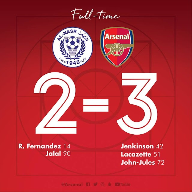 Arsenal Round Off their trip to Dubai with a narrow win