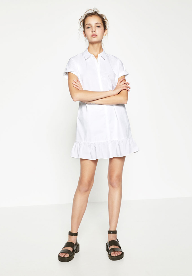 Zara vestido camisero color blanco