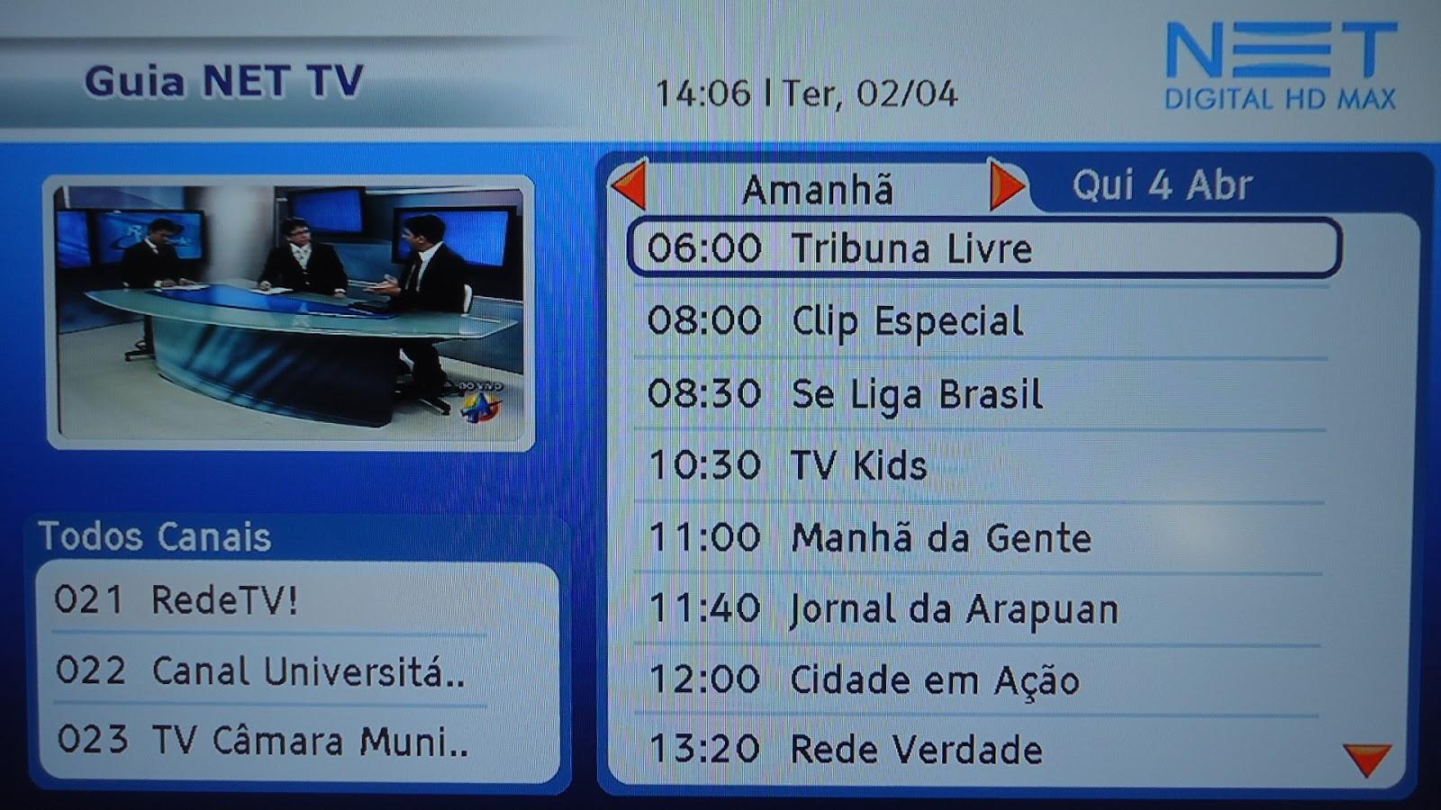 d019ec9c76 Será que a NET João Pessoa está preparando a entrada da TV Arapuan em High  Definition  Que por enquanto só temos acesso por meio do sinal aberto (UHF).