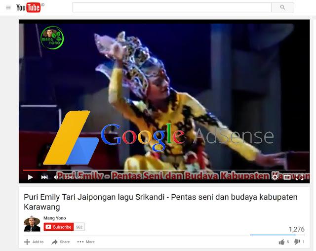 Iklan Google Adsense dipasang di Youtub Mang Yono