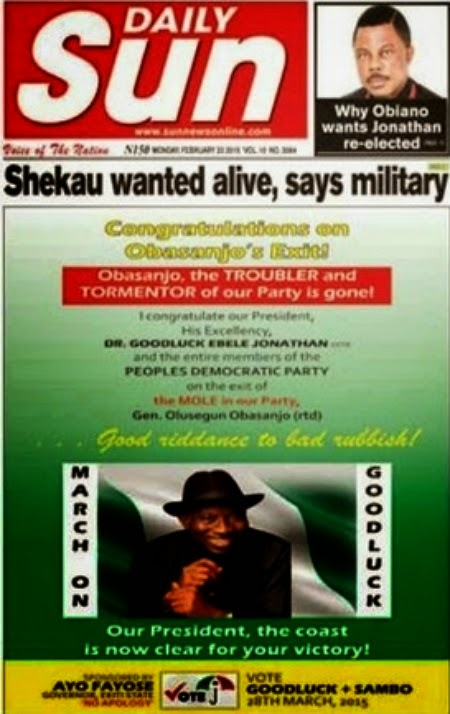 fayose advert obasanjo