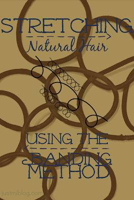 Stretching natural hair using the heatless banding method