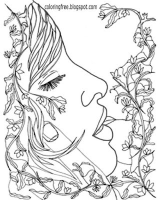 Printable drawing ideas lovely lady flower designs beautiful garden coloring pages for mature people