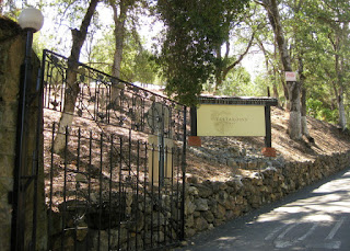 Novitiate entrance gate at Testarossa Winery, College Avenue, Los Gatos, California