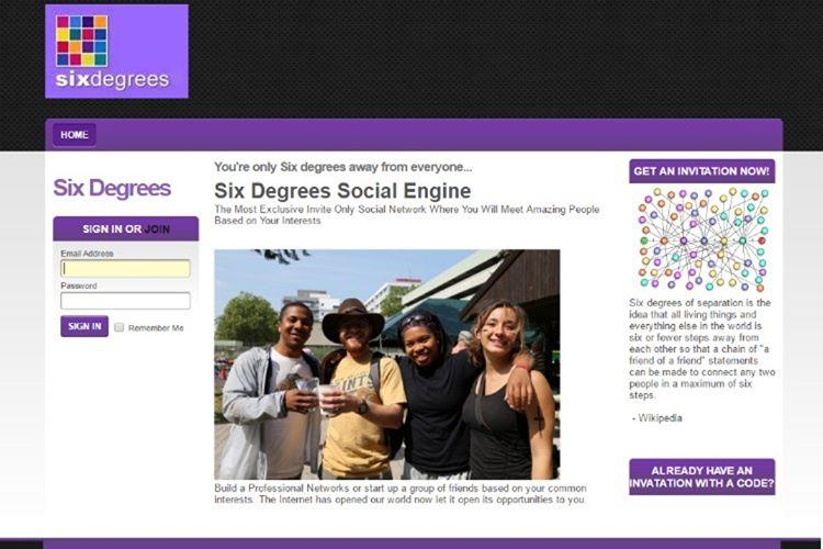İlk sosyal meyda sitesi, Facebook'tan 6 sene evvel kurulmuştu ve bu ağın adı sixdegrees.com'du.