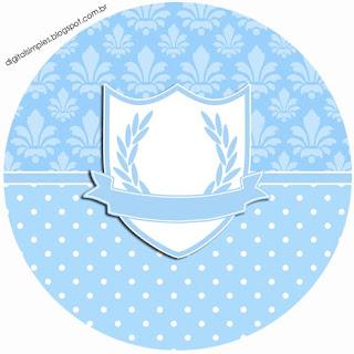 Corona en Celeste y Arabescos: Etiquetas para Candy Bar para Imprimir Gratis