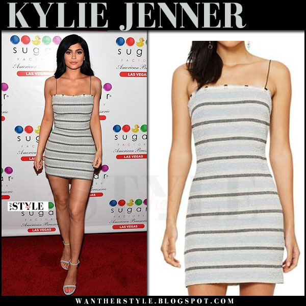 Kylie Jenner in grey striped mini dress bec and bridge icebergs and silver sandals stuart weitzman what she wore april 2017