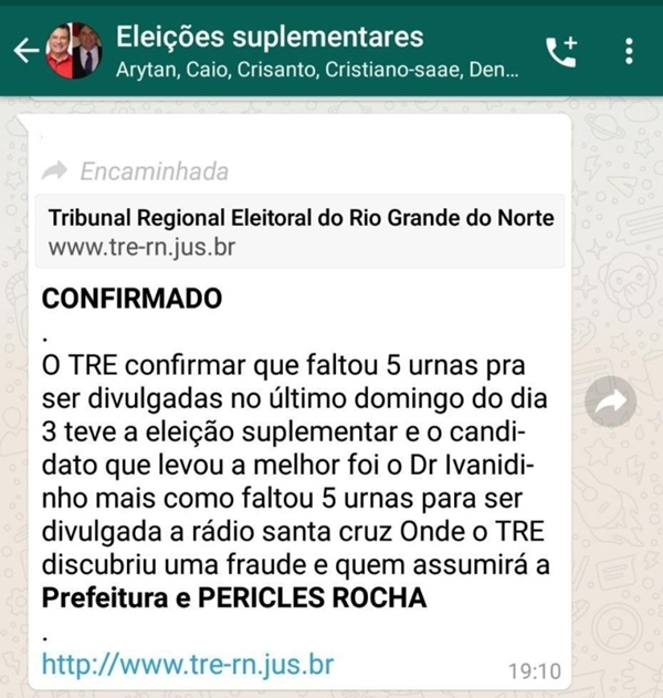 """Em Santa Cruz, oposição usa no nome do TRE/RN para divulgar """"fake news"""""""
