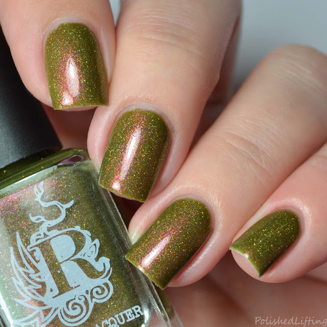olive green holographic nail polish
