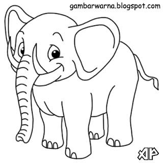 Mewarnai Gajah | Belajar Mewarnai Gambar