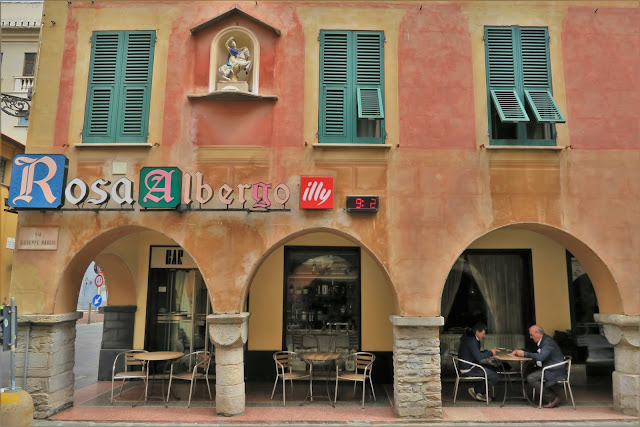 Streets with colorful buildings & arcades in Chiavari, Liguria