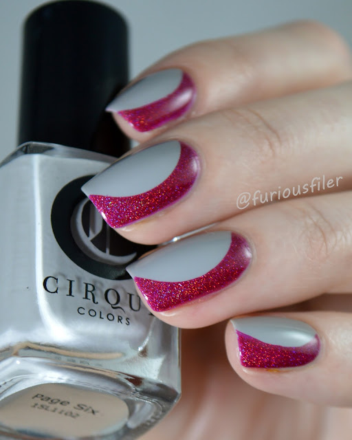 red holographic nails grey #nailpolishsocietyabc simple easy nail art