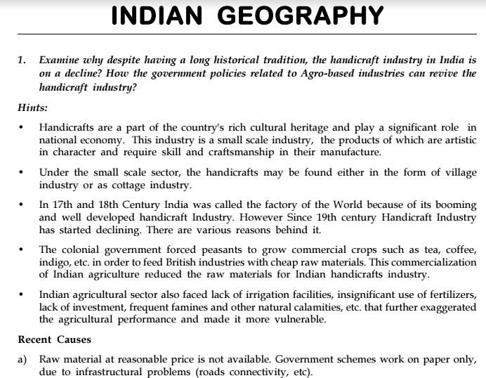 Ias Gs Mains Test Series Indian Geography Answer Hints Notes Pdf