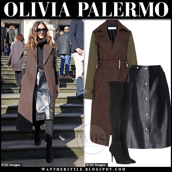 Olivia Palermo wearing brown contrast sleeve coat and black leather midi skirt london fashion week outfits february 2019