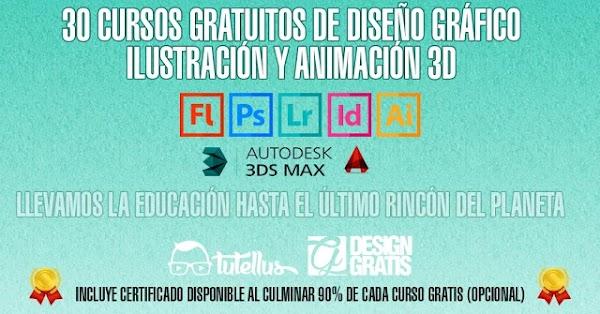 30 cursos gratis de Diseño Gráfico, ilustración y animación 3D | +60horas