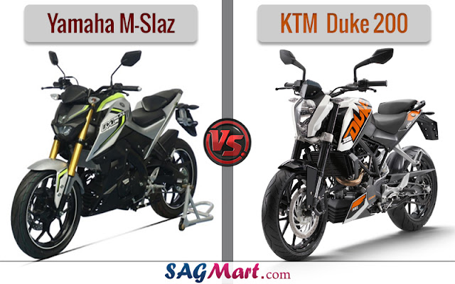 Yamaha M Slaz VS KTM Duke 200